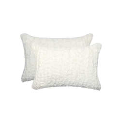 """12"""" x 20"""" x 5"""" Ivory Mink, Faux - Pillow 2-Pack"""