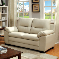 Contemporary Love Seat, Ivory