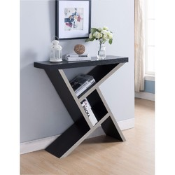 Unique Designed Console Table With Shelf, Dark Brown and Light Brown