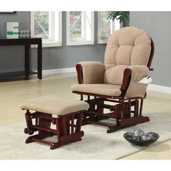 Chicly Elegant Glider Chair With Ottoman, Brown