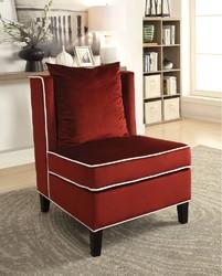 Modish Accent Chair, Red Velvet