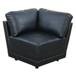 Bonded Leather Corner Wedge/Sofa, Black