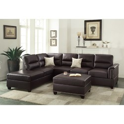 Bonded Leather 3 Pieces Sectional Set In Espresso Brown