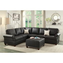 Bonded Leather 2 Pieces Reversible Sectional In Black
