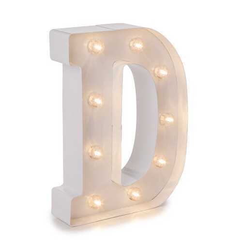 Light Up White Marquee Letters - Letter D 9.875 inches