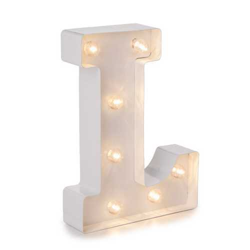 Light Up Marquee Letters Letter L 9.875 Inches Large White