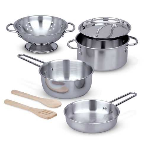 Melissa & Doug Lets Play House! Stainless Steel Pots & Pans Play Set