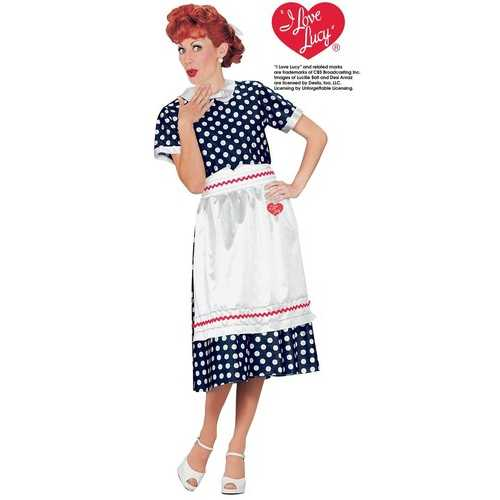 Fun World Women's Licensed I Love Lucy Polka Dot Dress  Blue Large (14-16)