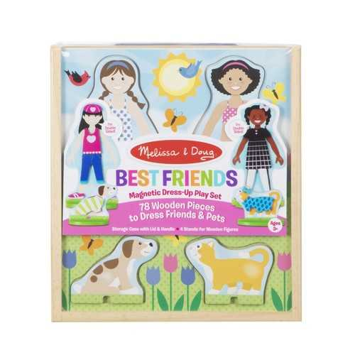 Melissa & Doug Best Friends Magnetic Dress-Up Wooden Dolls Pretend Play Set