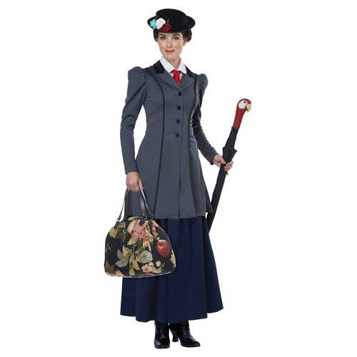 California Costumes Women's English Nanny Adult Costume Gray/Navy X-Large