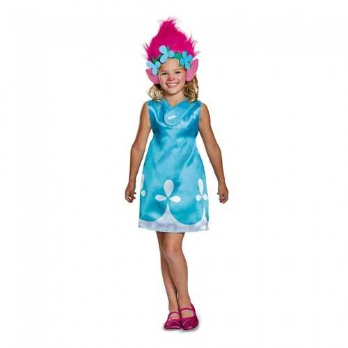 Poppy Classic With Headband Trolls Girl Costume Blue Large (10-12)