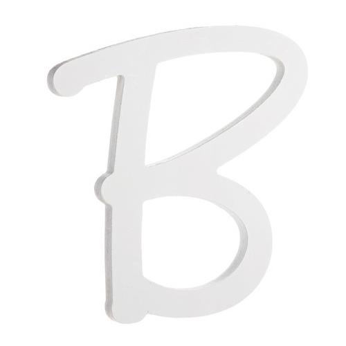 9 Inches White Wood Letter B Brush Font
