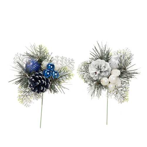 Christmas Ornament Picks With Pinecone And Cedar Plastic 7 Inches