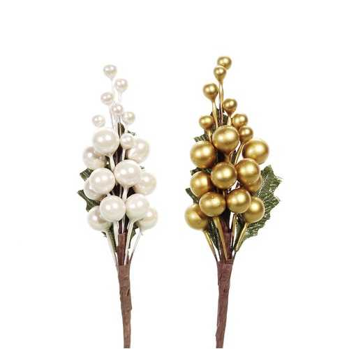 Christmas Floral Berry Spray Assorted Pearl White And Gold 6 Inches
