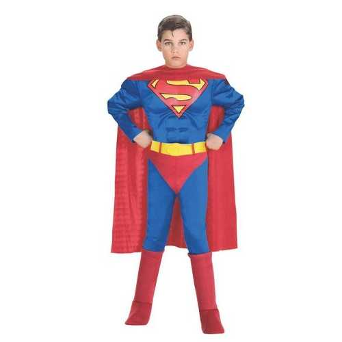 Classic Deluxe Muscle Chest Kids Superman Costume Male Small
