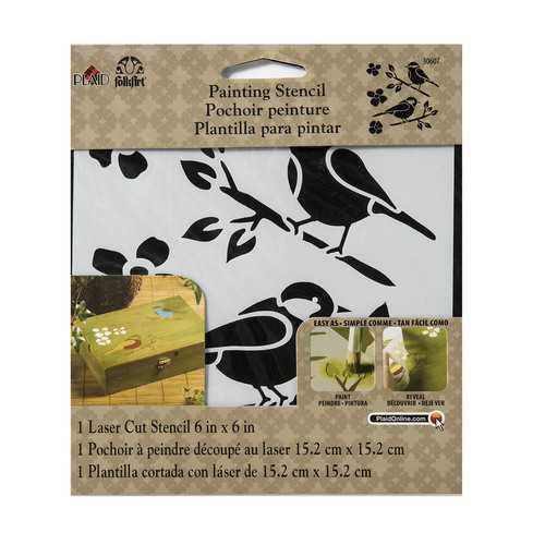 Plaid Folkart Painting Stencil Birds