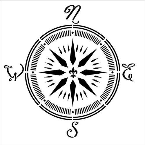 Plaid Folkart Painting Stencil 12 X 12-Inch Compass