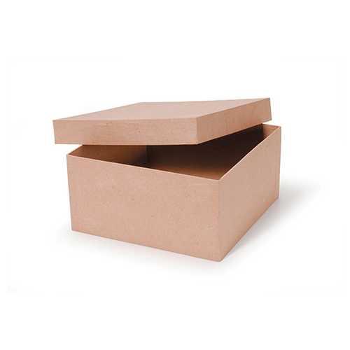 Paper Mache Box Square 10 X 10 X 5 Inches