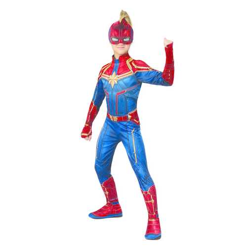 Captain Marvel Hero Girls Costume Suit Small Blue/Red