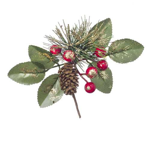Christmas Green Gold Pick With Berry And Pinecones Glitter 6.3 X 2.76Inches