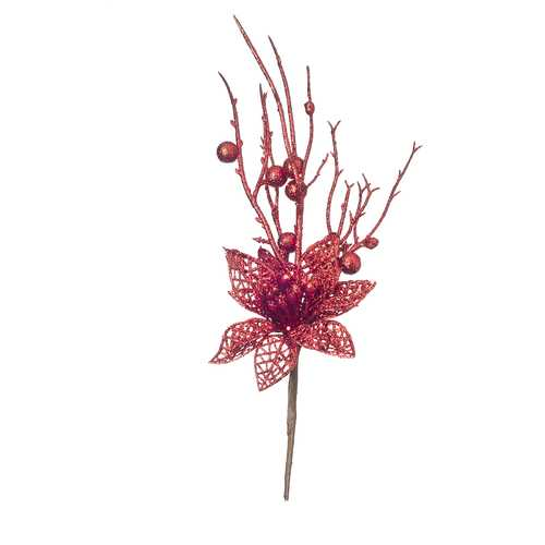 Red Glitter Poinsettia Pick 2.75 To 4 X 13.8 Inches