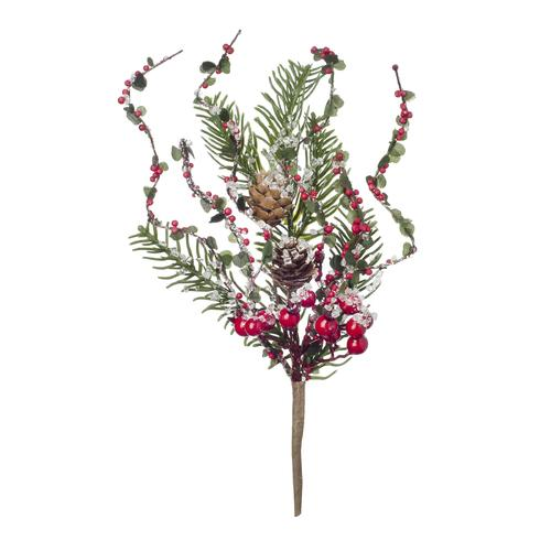 Christmas Berry Pinecone Pick 7.9 X 12 Inches