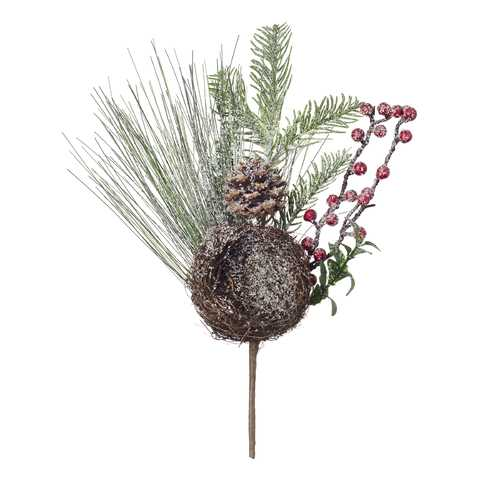 Christmas Pine Mix Pick With Bird Nest 7.9 X 12Inches