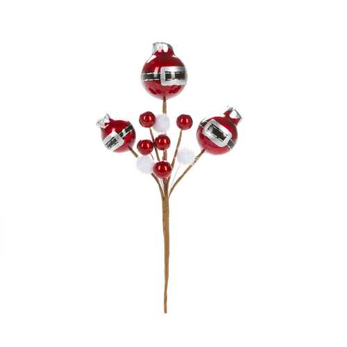 Christmas Floral Red Ornament Pick With Pom Poms 5 X 10 Inches