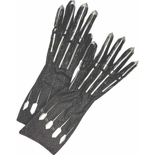 Men'S Deluxe Black Panther Gloves/Claws Adult Black/Silver One Size