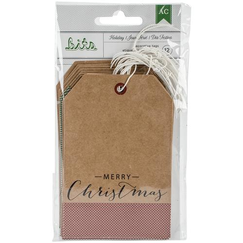 Holiday Tags 0.25 X2.875 Kraft With Gold Foil