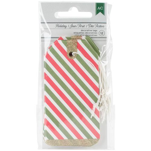 All Wrapped Up Collection Christmas Striped Tags With Glitter Accents