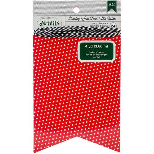 American Crafts Christmas Banner Notch Red Polka Dot