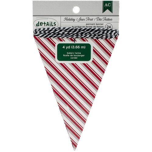 American Crafts Holiday Details Banner Red Stripe