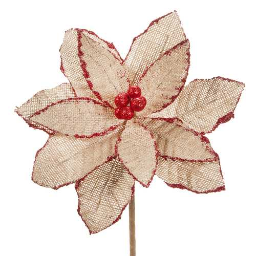 Burlap Poinsettia Pick Glitter Red And Natural 8 Inches