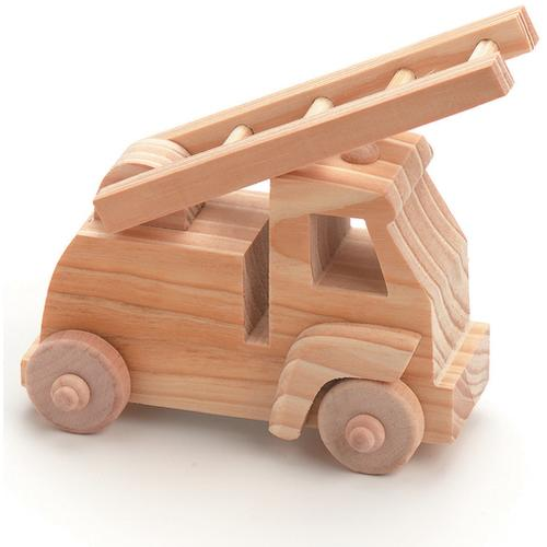 Wood Model Kit Toy Fire Truck 4 X 4 X 2.25 Inches