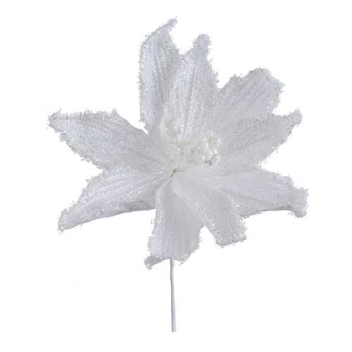 Velvet Poinsettia Pick White/Silver 6 X 10 Inches