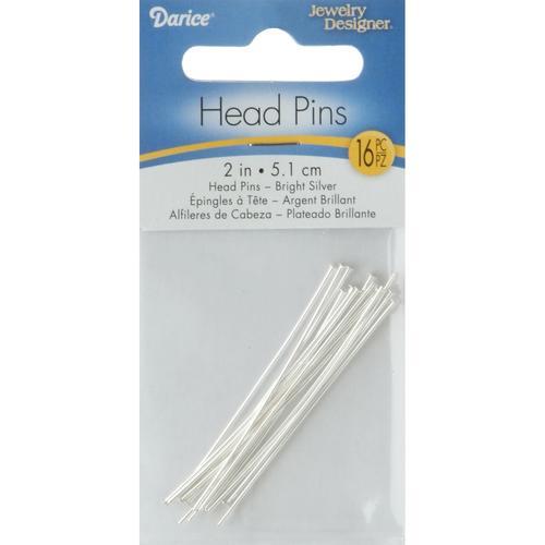 Darice Jewelry Designer Slimpack Silver Metal Findings 2 Inches Head Pins