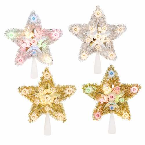 1Lt 5 Point Tinsel Star Tree Top 4 Styles