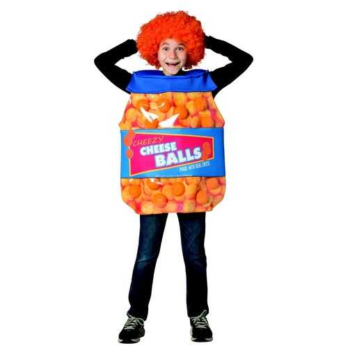 Rasta Imposta Cheeseballs Costume Funny Food Outfit Kids Child Fit Sizes 7-10 Orange Blue