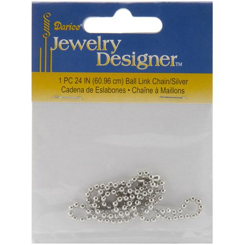 Ball Link Chain 24 Inches Silver