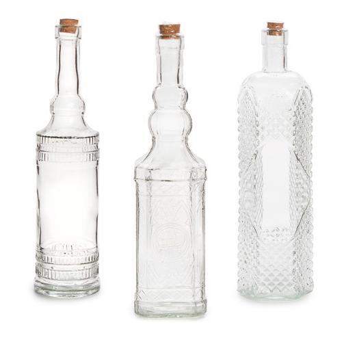 Glass Bottle With Cork Clear Assorted 12 Inches