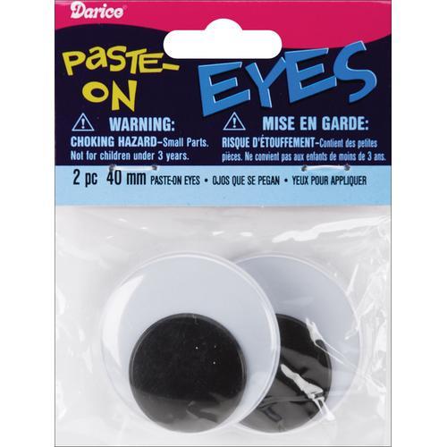 Paste On Wiggle Eyes 40mm Black