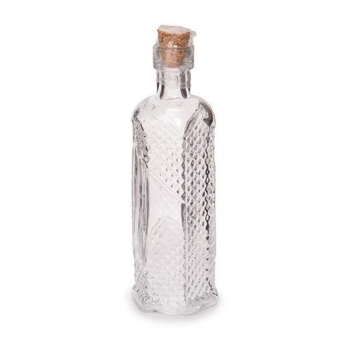 Glass Bottle Hexagon With Raised Dots Clear 5 Incheses