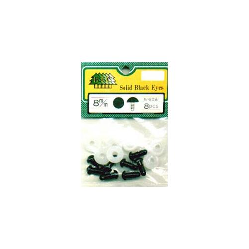 Shank Back Solid Eyes with Plastic Washers 8 mm Black