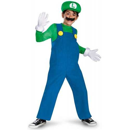 Boys Nintendo'S Super Mario Brothers Luigi Deluxe Costume ( 4-6)