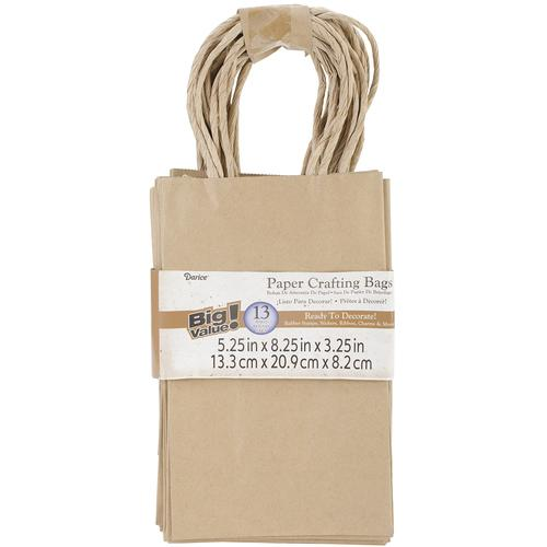 Kraft Paper Bags 5.25 X8.375 X3.25 Inches Natural