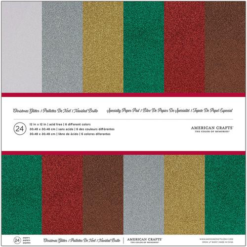 Christmas 12x12 Specialty Paper Pad Glitter Paper Christmas
