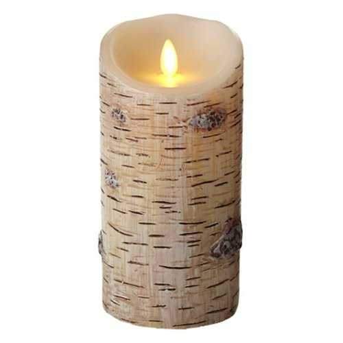 Flameless Led Candle - Textured Birch Bark Pillar - 7-Inches
