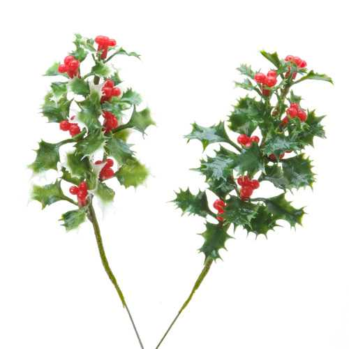 Christmal Floral Holly Pick Assorted Green And Varigated Green 7 Inches