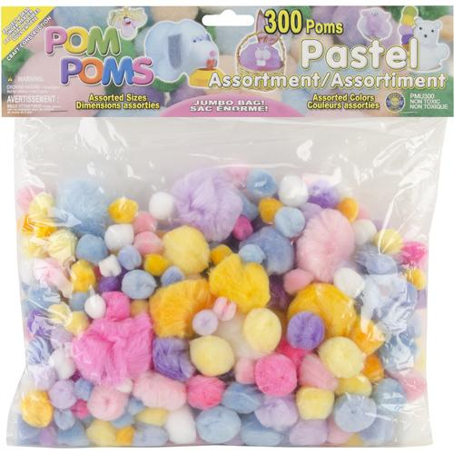 Pepperell Pom Poms Assorted Pastel Colors and Sizes